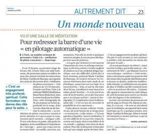 Revue de presse : article sur la Méditation du Journal La Croix
