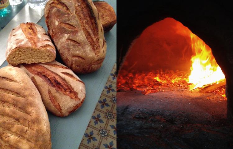 Cuisson du pain dans un four à bois